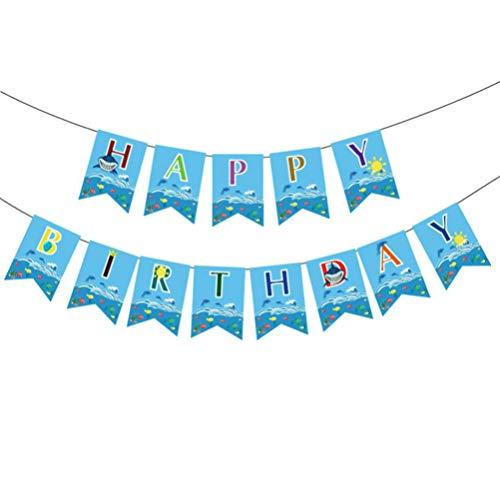 Amosfun Banner de tiburón para fiesta de cumpleaños, bandera marina de feliz cumpleaños colgante banderines suministros de decoración