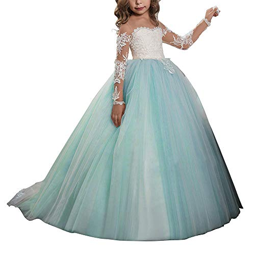 Abaowedding Lace Embroidery Sheer Long Sleeves Kids Trailing Gowns (Aqua, 10)