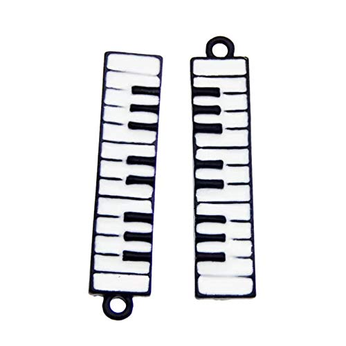 HGFJG 8Pcs Emaille Piano Charms Elektronische Orgel Tastatur Anhänger Legierung Halskette Armband Herstellung Zubehör