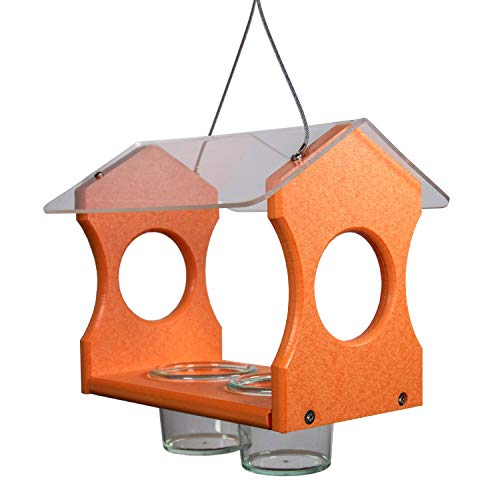 JCs Wildlife Nature Products USA Poly Lumber Orange Oriole Bird Feeder 3000 - Hanging Oriole Jelly Bird Feeder - Made in The USA