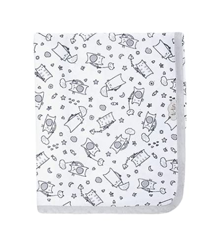 Ti TIN - Arrullo para Bebé de Doble Capa de Punto Suave y Absorbente 100% Algodón con Doble Tejido Interlock, Estampado de Gatos Panda Color Gris.