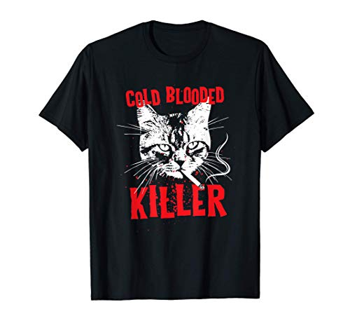 Cold Blooded Killer Cat Smokes Cigarette Camiseta