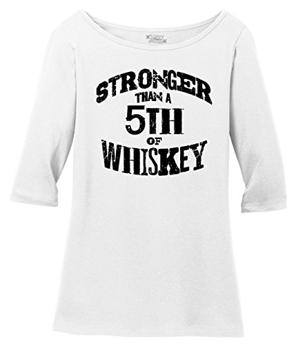 Comical Shirt Ladies 3/4 Sleeve Tee Stronger Than 5th of Whiskey Bright White 2XL