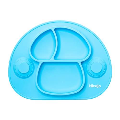 Plato Bebé Con Ventosa - Vajilla de Silicona Alimentaria - Mantel Antideslizante Para Trona - 3 Compartimentos Papilla – Niños 6-18 Meses – Apto Para Lavavajillas Y Microondas (Azul)