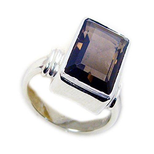 Jewelryonclick natürliche handgemachte Rauchquarz Ring Smaragd-Cut Lünette Silber Schmuck in Größe X erhältlich