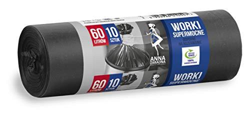 Anna ZARADNA ST-AZ-010547 - Bolsas de basura resistentes a desgarros (60 L, 10 unidades), color negro