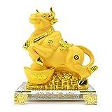 Bwinka Figuras coleccionables Feng Shui 2021 Zodíaco Chino OX Año de resina dorada para la Suerte y la Riqueza, perfectas para tu hogar u oficina (CW-ZCJB)