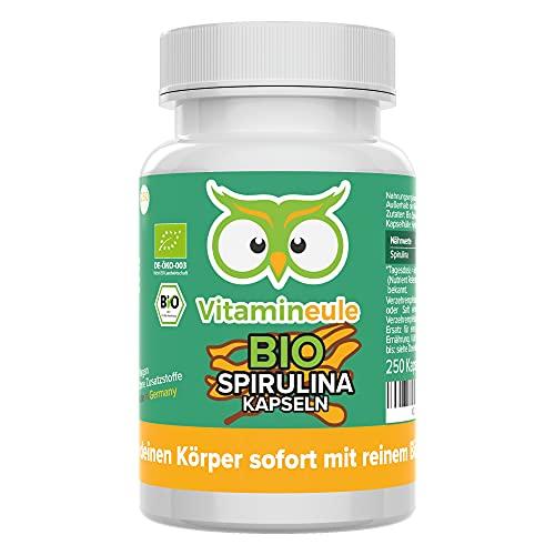 Bio Spirulina Kapseln - hochdosiert mit 500mg - reines Bio Spirulina Pulver ohne Zusätze - Qualität aus Deutschland - 250 Kapseln - vegan - Vitamineule®
