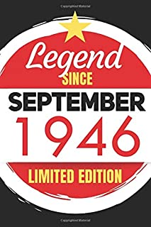 Legend Since September 1946 - Limited Edition: Blank Notebook Journal - Birthday Sketch Diary