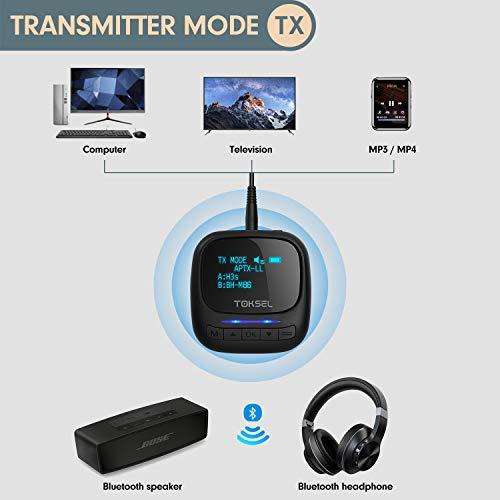 TOKSEL Receptor Transmisor Bluetooth para TV,PC,Adaptador Inalámbrico Bluetooth 2 en 1,AptX de Baja Latencia para Automóvil / Nintendo Switch
