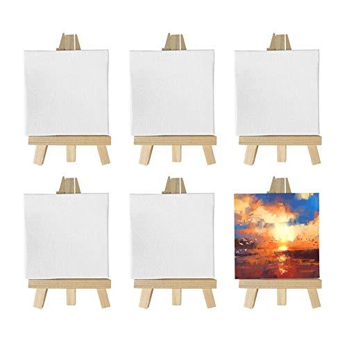 XGzhsa Mini caballete de madera, caballete sobremesa, Caballetes de trípode de pantalla pequeña de 6 piezas con lienzo en blanco, para dibujar, pintura al óleo al agua, artes de mesa