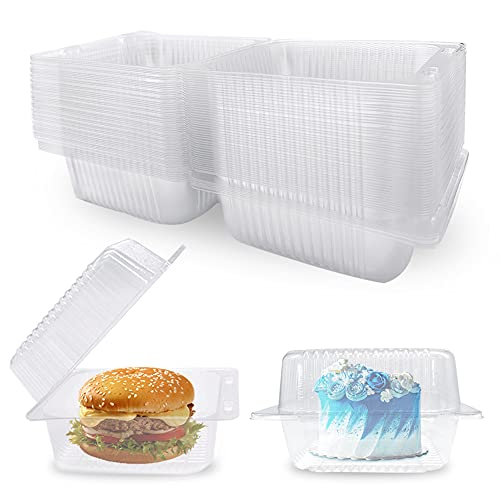 50 Pcs Clear Plastic Hinged Food Containers,Clear Plastic Take Out Containers,Disposable Plastic Boxes with Lids for Salads,Pasta,Hamburger,Sandwiches,Cake,Pastry(5.2x4.7x2.8 in)
