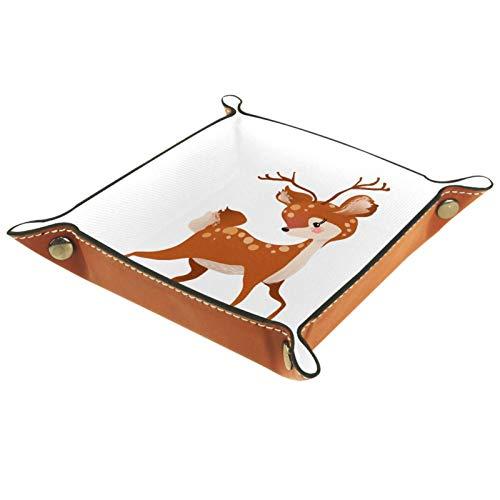 Bandeja de cuero para joyería Ciervo Sika de dibujos animados Caja de almacenamiento Bandeja pequeña para collares Anillos y pendientes para mujer 20.5x20.5cm