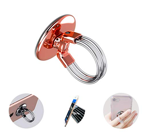 Ring - Soporte de metal para teléfono móvil (360°, universal, antideslizante, para iPhone 11, Samsung S20, Huawei Galaxy Note, acero inoxidable 3 en 1, color oro rosa)