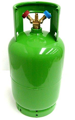 SUPERSAMASTORE Bombola vuota, 12 litri, con doppia valvola di recupero del gas refrigerante R410A R134A