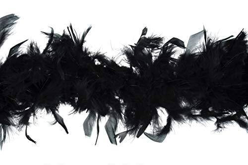 Trimits Boa en Plumes de Marabout, Noir, 1,8 metre x 12 cm