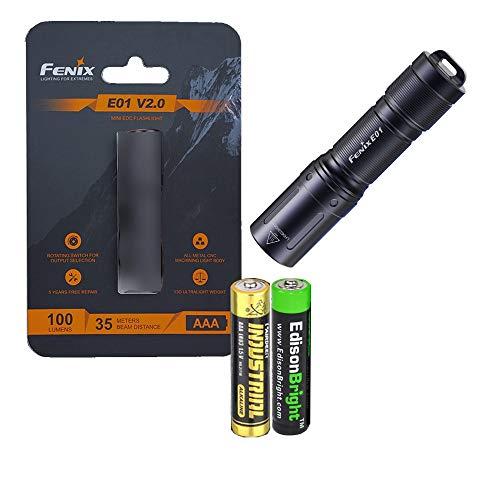 Fenix E01 V2 100 Lumen LED flashlight with EdisonBright AAA alkaline battery bundle (Black)