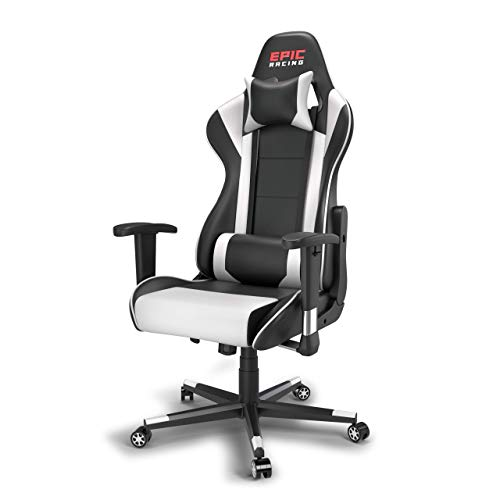 Epic Racing Professional Gaming Chair with Adjustable Height, Full Recline and Headrest/Lumbar Support (White)
