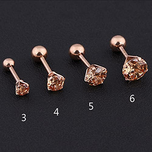 CXWK 1 Uds.Pendientes de circonita de Cristal de Acero Inoxidable para Mujeres y Hombres, joyería para Piercing de cartílago de 4 Puntas