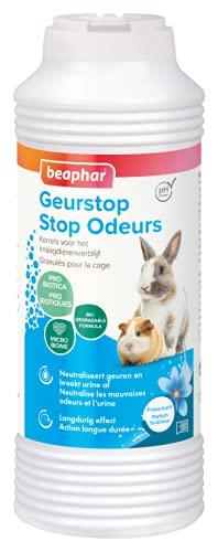 BEAPHAR – STOP ODEUR – Granulés absorbeur d'odeurs – Litère du rongeur – Neutralise les mauvaises odeurs et l'urine – Désodorise – Entièrement biodégradable – Parfun fraicheur – 600g
