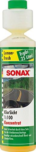 SONAX KlarSicht 1:100 Konzentrat Lemon-Fresh (250 ml) hochkonzentrierter Reinigungszusatz mit Lemon-Fresh-Duft für die Scheibenwaschanlage im Sommerbetrieb | Art-Nr. 03731410