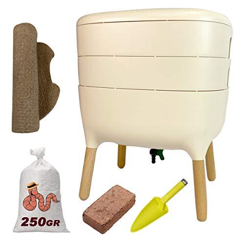Urbalive - Kit completo I Wormery Design I 250 gr de compost Worms I Starter Substrato I Alfombra de cáñamo + Pala I Interior, balcón y jardín