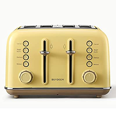 BUYDEEM DT640 4-Slice Toaster, Extra Wide Slots, Retro Stainless Steel with High Lift Lever, Bagel and Muffin Function, Removal Crumb Tray, 7-Shade Settings (Mellow Yellow, 4-Slice)