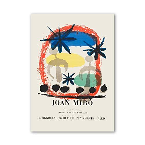 N / A Joan Miro Ausstellung Vintage Abstraktes Poster Berühmte Leinwand Malerei Bild Mitte des Jahrhunderts Moderne Drucke Home Wandkunst Dekor 20X30CM NO Rahmen