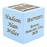 Personalized Blue Baby Baptism/Dedication/Christening Wood Block, Choose From 3 Sizes, Baptism Gift For Boy, Baby Dedication Gifts, Unique Baptism Gifts, Yazidism, Sikhism (2.5' blue)