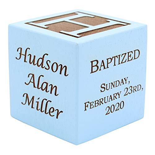 Personalized Blue Baby Baptism/Dedication/Christening Wood Block