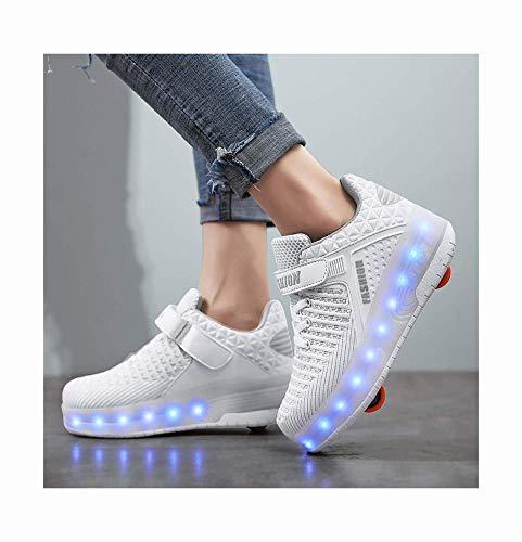 qmj Schuhe Mit Rollen LED Rollschuhe Mit Räder Roller Skate Schuhe Sneakers Kinder Schuhe Mit Rollen, Outdoorschuhe Gymnastik Mode Turnschuhe Für Kinder Mädchen Junge Erwachsene