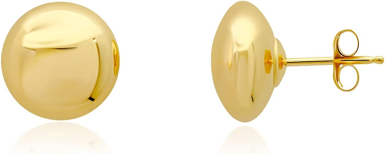 14K Yellow Gold Full Ball or Half Button Ball Stud Earrings (4mm through 8mm)