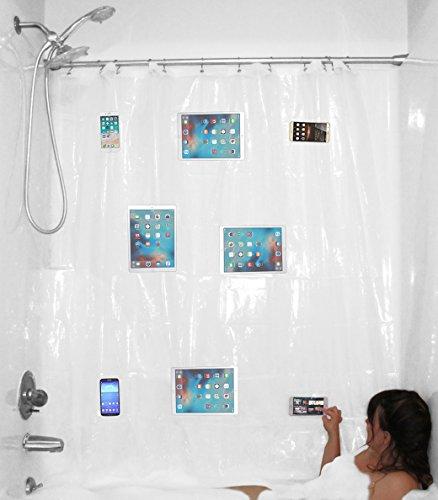 YouTub Premium Clear Duschvorhang mit wasserdichten Medientaschen für Touchscreen-Handys iPhone Tablet iPad Halter – Text, Hören Sie Musik oder Podcasts und Watch während Sie Baden – Universalgröße