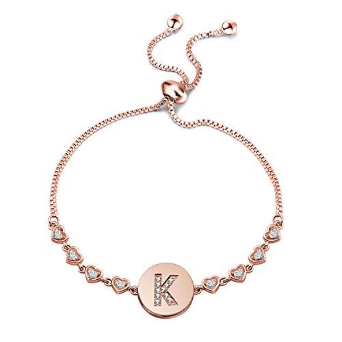 TGBJE Initial Bracelet Rose Gold Letter Bracelet Adjustable Bracelet Gift for Women,Girl (Letter:K)