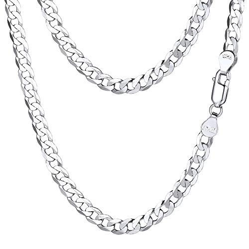 PROSTEEL 925 Sterling Silver Cuban Link Chain Women Men Necklace Italy Chains Chic 5mm 18 Inch Italian Real Silver Necklaces