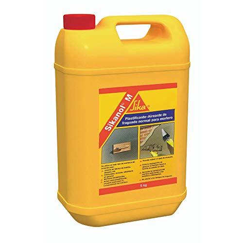 Sikanol M, Plastificante-aireante de fraguado normal para mortero, Aditivo líquido listo para su empleo, sin cloruros, Marrón, 5 kg
