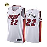 Butler # 22 Heat Basketball Jersey, Chaleco bordado para hombre de juventud, de gran tamaño transpirable y cómodo entrenamiento traje sudadera (S-2XL), 123, blanco, L