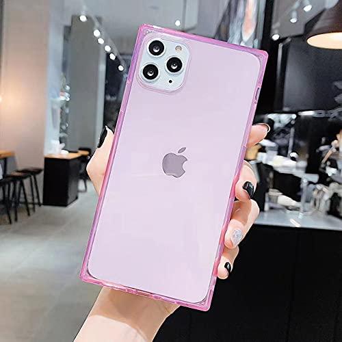 Funda para iPhone 12 Mini 12 11 Pro X XR XS MAX 6 6s 7 8 Plus Diseño Cuadrado de Moda Funda de TPU Suave Transparente de Color Caramelo, Rosa, para iPhone 6S Plus