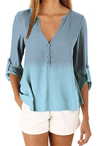 EFOFEI Damen Chiffon Bluse Langarmhemd Sommer Casual Tops Gradient Blau S