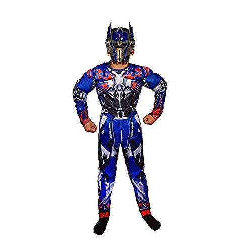 FINDPITAYA Disfraz Transformers Halloween Navidad Nio Optimus Prime Cosplay Costume con Mscara (Azul, M 120-130)