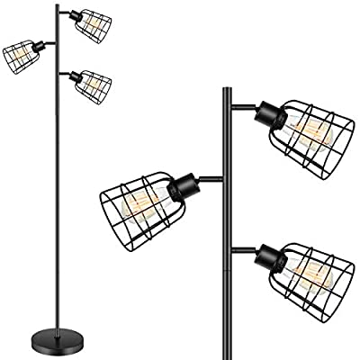 Farmhouse Floor Lamp - Industrial Standing Light with 3 Adjustable Cage Black Rustic Floor Lamp for Living Room Indoor Tall Lighting for Bedroom Office(Bulb Not Included)