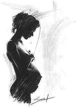 Charcoal Figure Drawing Art Print of Pregnant Woman