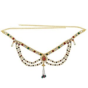 Memoir Gold Plated Multicolour CZ Ethnic Waistbelt Bellychain Kamarpatta Kamarbandh Women Traditional, Bridal Jewellery