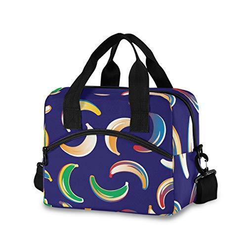 Bolsa de almuerzo para mujer y hombre – Bananas de color aislado bolsa de asas con correa de hombro desmontable y asa de transporte, bolsa enfriadora reutilizable para el trabajo, escuela de picnic
