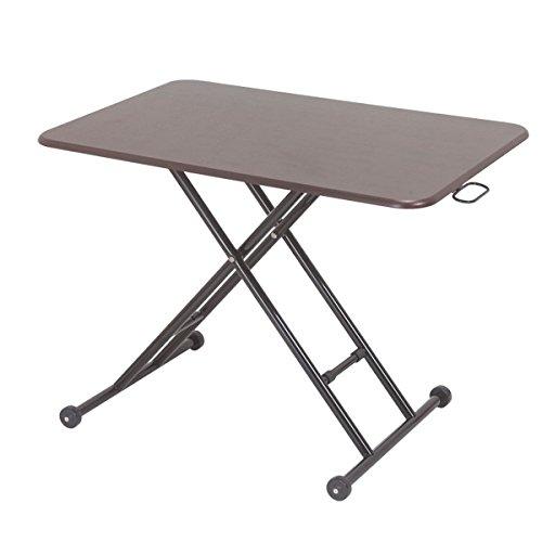 ガス圧無段階昇降式リフティングテーブル 幅90cm 木製天板 キャスター付き ブラウン