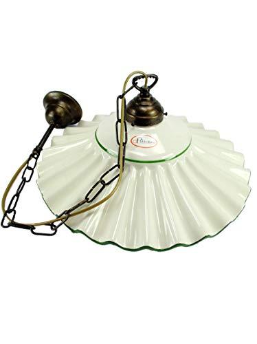 Lampadario ottone brunito stelo a catenella sospensione una luce stile liberty con piatto ceramica bordato verde l1049 Misure:H 74cm,Ø vetro 37cm.Le misure sono con piatto.Attacco Edison E 27