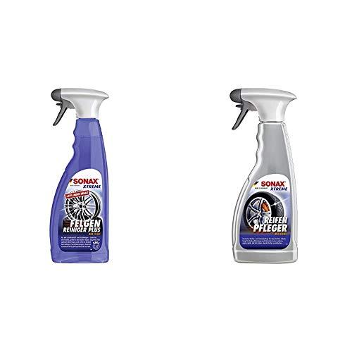 SONAX XTREME Felgenreiniger PLUS (750 ml) - effiziente Reinigung aller Leichtmetall- und Stahlfelgen sowie lackierte, verchromte und polierte Felgen & XTREME ReifenPfleger Matteffect (500 ml)