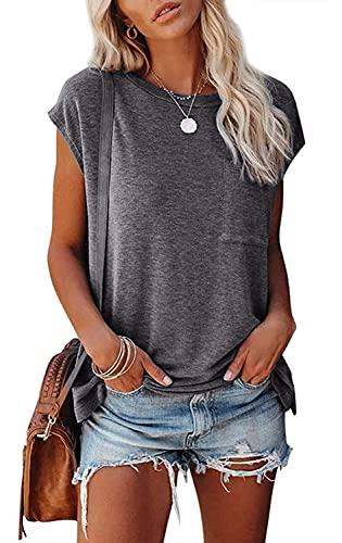 AitosuLa Camiseta de verano de manga corta para mujer, cuello redondo, informal, suelta, básica. A gris...