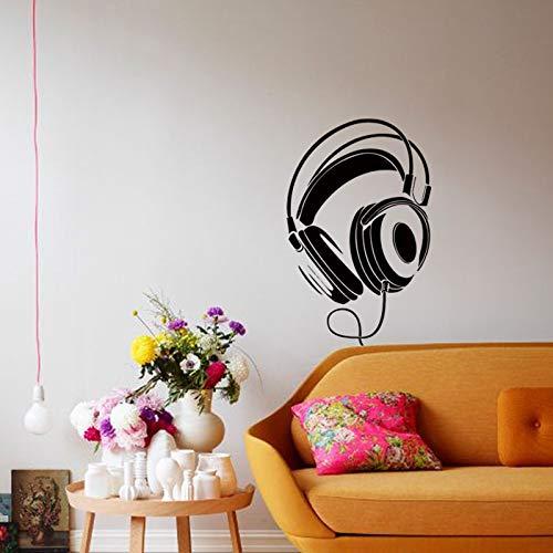 Kunst neue design billige wohnkultur headset wandaufkleber abnehmbare mode haus dekoration kopfhörer aufkleber für shop bar schlafzimmer 58X91 cm