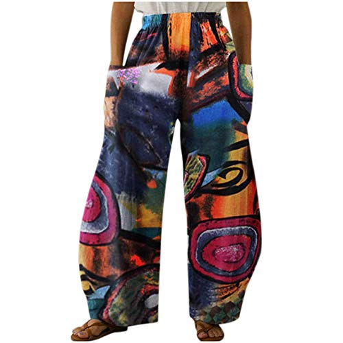 Harem Pantalons Femme Coton Longs Imprimés Rétro Baggy Hippie HommesTaille Élastique Pantalons De Sport Nationalité Grande Taille Pantalons Jogging Yoga